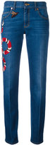 Gucci embroidered Kingsnake jeans - women - Cotton/Calf Leather - 26