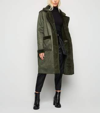 New Look Blue Vanilla Reversible Faux Fur Coat