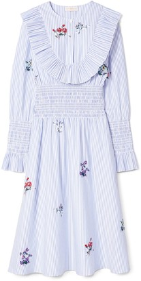 Tory Burch Embroidered Smocked Dress