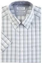 Nautica Classic Fit Wrinkle Resistant Kelp Plaid Short Sleeve Shirt
