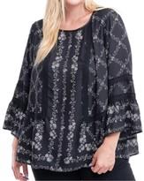 Fever Plus Size Printed Crochet-Trim Top