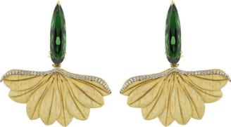Silvia Furmanovich Carved Leaf with Green Tourmaline Earrings