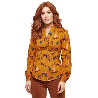 Joe Browns Cotton Mandarin Collar Blouse in Fox Print with Balloon Sleeves