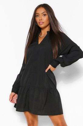 boohoo Balloon Sleeve Peplum Hem Shift Dress