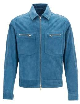 BOSS Regular-fit blouson jacket in buffed suede