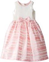 Jayne Copeland Big Girls' Satin Bodiced Dress with Striped Mesh Skirt