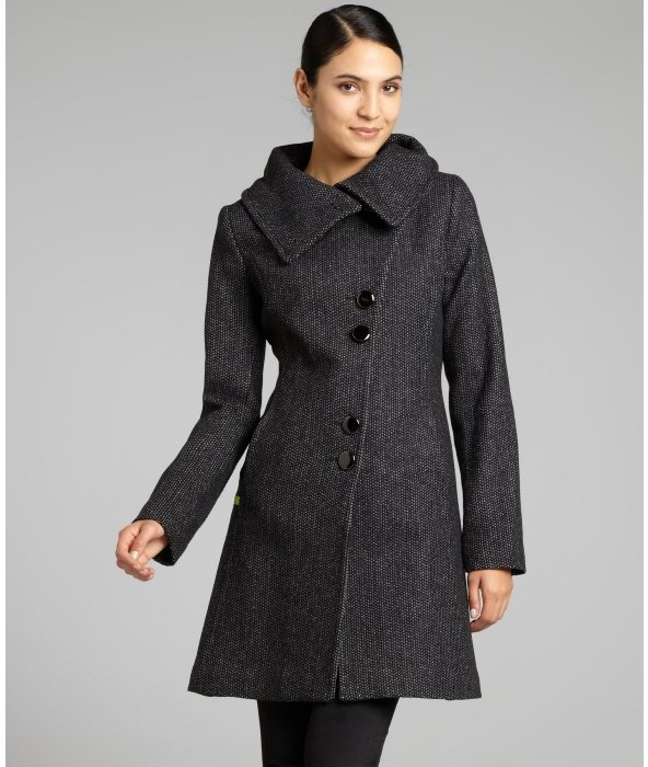 Soia & Kyo black wool blend 'Regina' asymmetrical button front coat