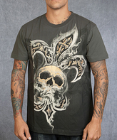 Rebel Spirit Olive 'Rebel Spirit' Skull Crewneck Tee - Men's Regular