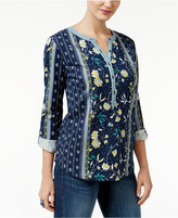 Style&Co. Style & Co Petite Mixed-Print Top, Only at Macy's