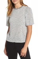 Velvet by Graham & Spencer Women's Textured Stripe Puff Sleeve Tee