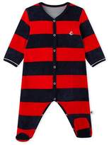 Petit Bateau Baby boys striped velour sleepsuit