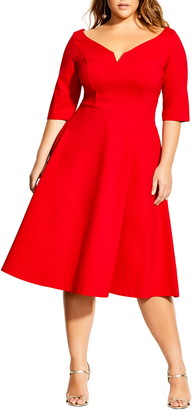 City Chic Cute Girl Sweetheart Neck Fit & Flare Dress