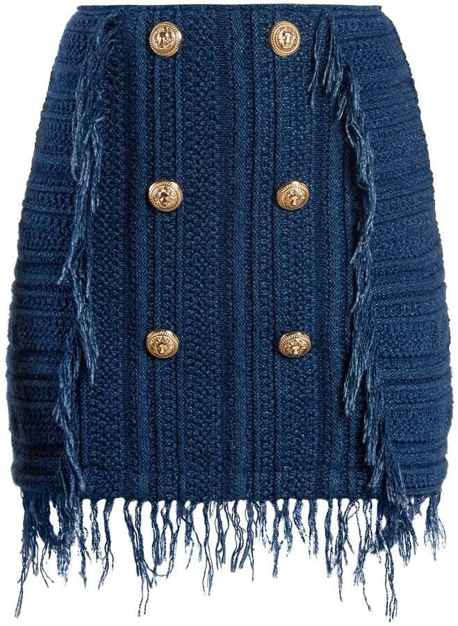 Balmain Frayed button-embellished tweed mini skirt