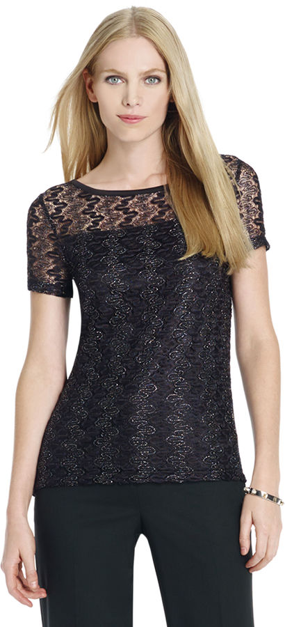 Jones New York Short Sleeve Lace Blouse with Wide Neck