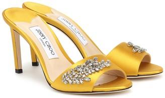 Jimmy Choo Stacey 85 embellished satin sandals