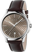 Gucci G-timeless large slim stainless steel and leather watch