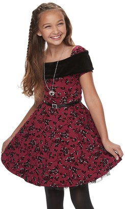 Knitworks Girls 7-16 Skater Dress with Necklace