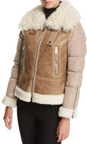 Moncler Kilia Mixed-Media Shearling Puffer Coat, Stone