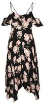Topshop TALL Asymmetric Floral Midi Slip Dress