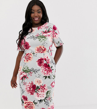 ASOS DESIGN Curve wiggle midi dress in floral print