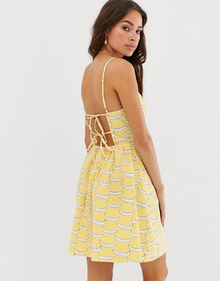Glamorous cami dress with tie back in banana stripe-Yellow