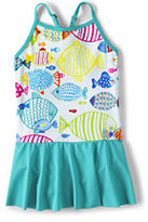 Lands' End Girls Slim Skirted One Piece Swimsuit-Multi Stripe
