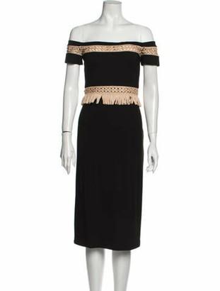 Alexis Off-The-Shoulder Midi Length Dress w/ Tags Black