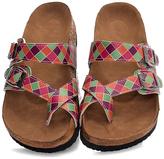 Green & Purple Geometric Crisscross Toe-Strap Sandal