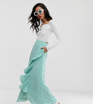 NA-KD Na Kd midaxi frill skirt in ice blue