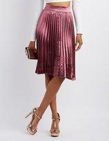 Charlotte Russe Satin Pleated Midi Skirt