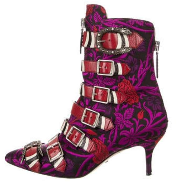 Gucci 2017 Jacquard Pointed-Toe Ankle Boots Purple 2017 Jacquard Pointed-Toe Ankle Boots