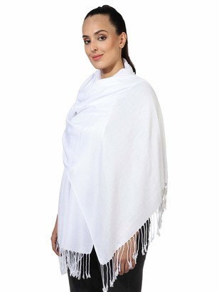 Pashmina Style All Seasons Handcrafted Wrap Shawl Stole Scarf by World of Shawls (White)