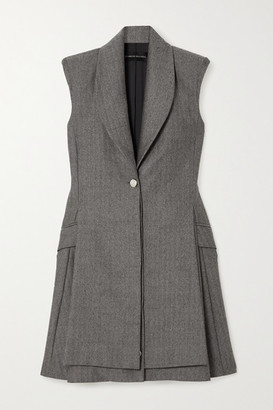 Brandon Maxwell Herringbone Wool Mini Dress - Gray