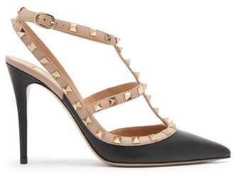 Valentino Rockstud Leather Pumps - Black Nude