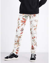 Mcq Alexander Mcqueen Floral-print Mid-rise Stretch-cotton Trousers
