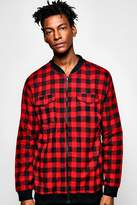 boohoo Bomber Collar Buffalo Check Shirt red
