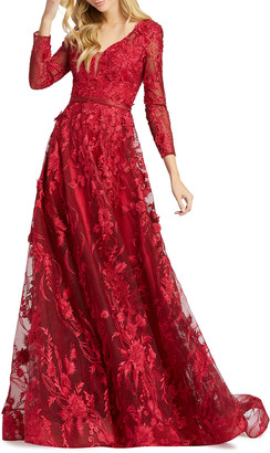 Mac Duggal 6-Week Shipping Lead Time Long-Sleeve Floral Embroidered Gown