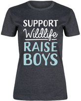 Heather Charcoal 'Support Wildlife Raise Boys' Fitted Tee