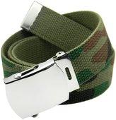 Build A Belt Classic Silver Men's Military Slider Belt Buckle with Canvas Web Belt Large