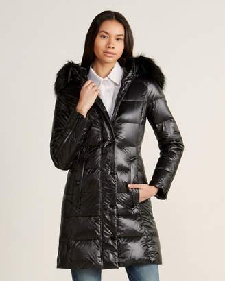 Karen Millen Faux Fur-Trimmed Long Puffer Coat