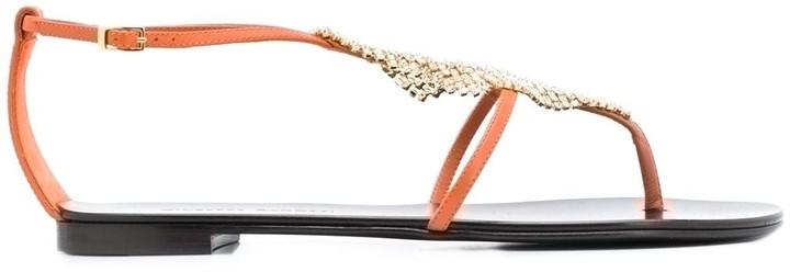 Giuseppe Zanotti Gemstone Embellished Thong Sandals