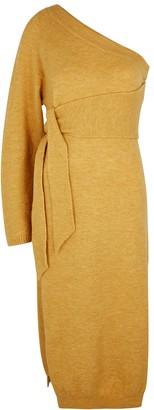 Nanushka Cedro mustard one-shoulder midi dress