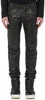 Balmain Men's Coated Denim Biker Jeans-BLACK