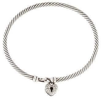 David Yurman Diamond Cable Collectibles Heart Lock Bangle