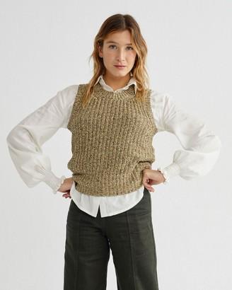 Thinking Mu - Knitted Vest Yellow - L