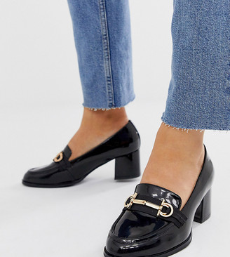 ASOS DESIGN Wide Fit Stirrup mid-heeled loafers in black patent