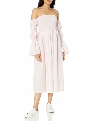 The Drop Women's Ella Off the Shoulder Tiered Puff Sleeve Cotton Poplin Midi Dress