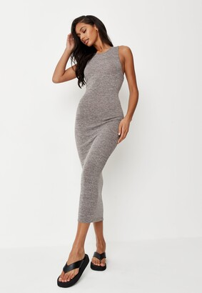 Missguided Grey Racer Midaxi Dress