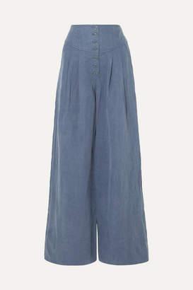 Ulla Johnson Reid Chambray Wide-leg Pants - Mid denim