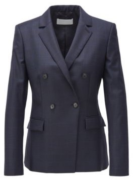 BOSS Double-breasted regular-fit jacket in checked virgin wool